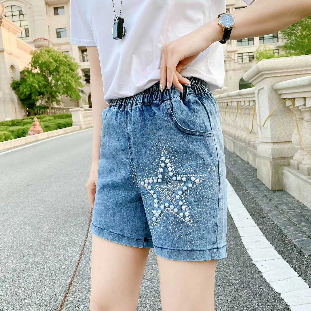 2020夏季新款时尚大码女裤显瘦遮肉休闲宽松适合胖mm珍珠牛仔短裤