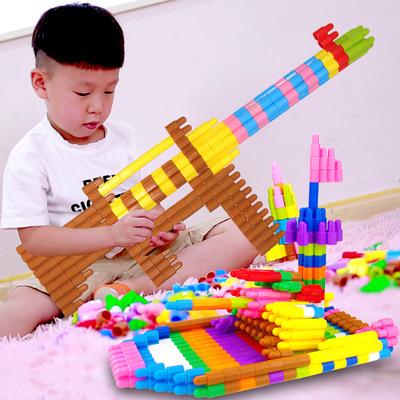 儿童塑料拼插子弹头积木4-6岁幼儿1宝宝2拼装3男孩5益智玩具女孩