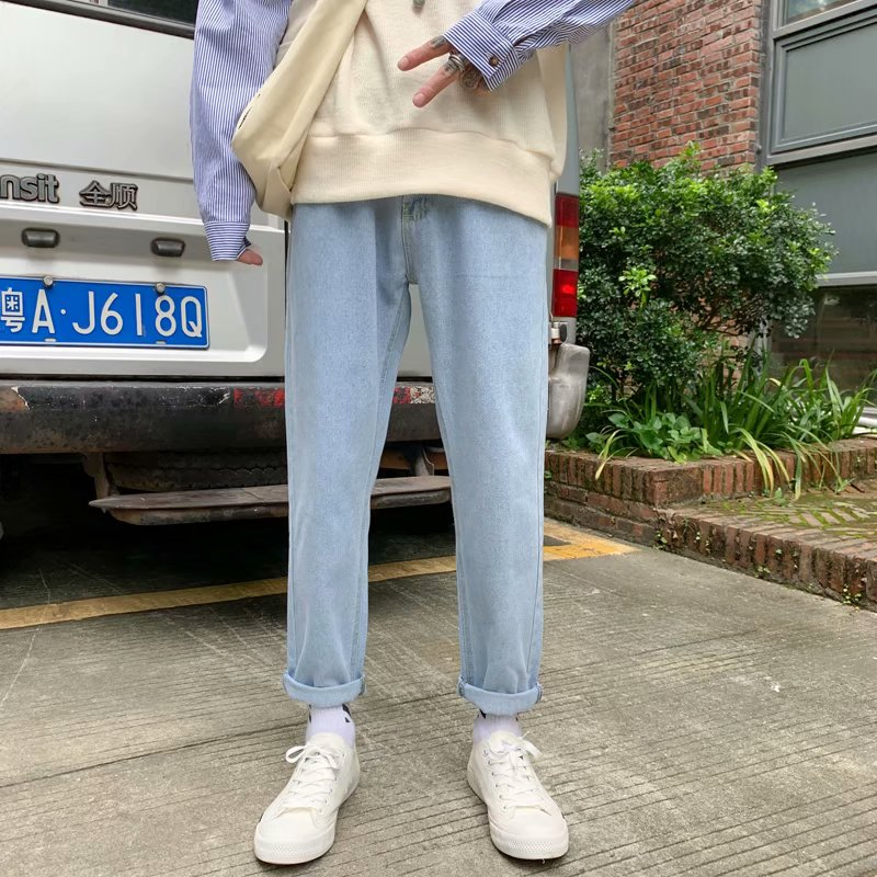 Light blue jeans mens Korean Trend loose straight nine point pants Hong Kong style simple wood wash white mens pants
