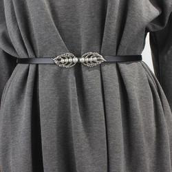 简约百搭女士细腰带真皮时尚韩版装饰裙带珍珠对扣配连衣裙子腰链
