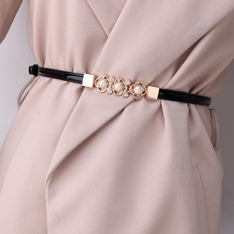 可调节漆皮珍珠花朵细腰带连衣裙子