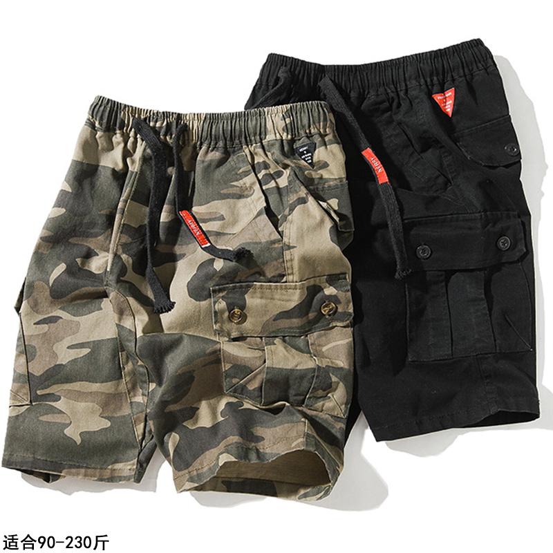 夏季运动迷彩工装裤休闲裤男加肥加大码宽松短裤子潮牌胖子五分裤