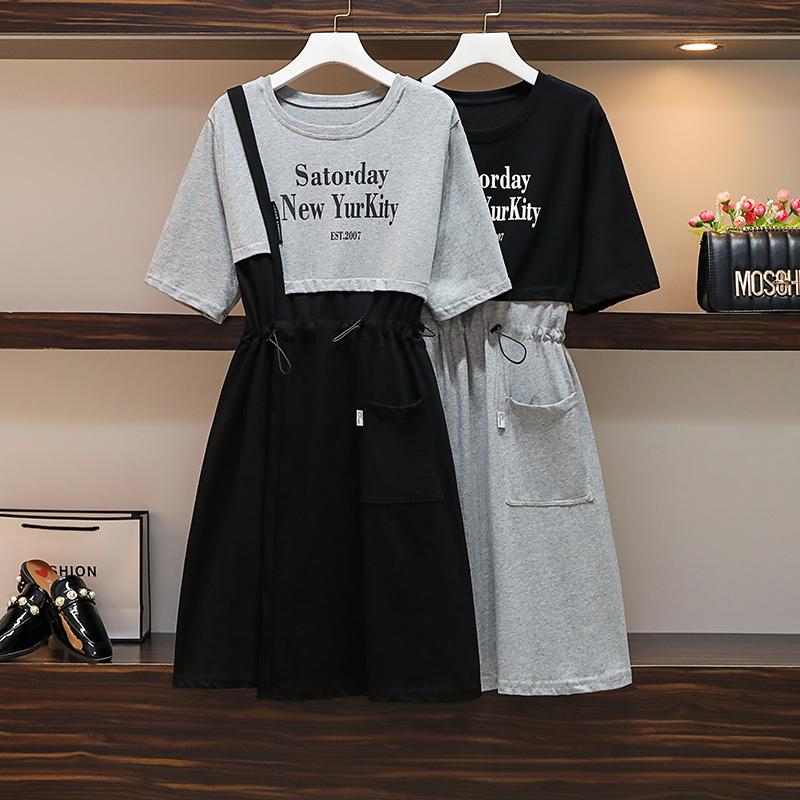 大码女装胖mm2021夏季新款宽松休闲抽绳收腰假两件纯棉显瘦连衣裙