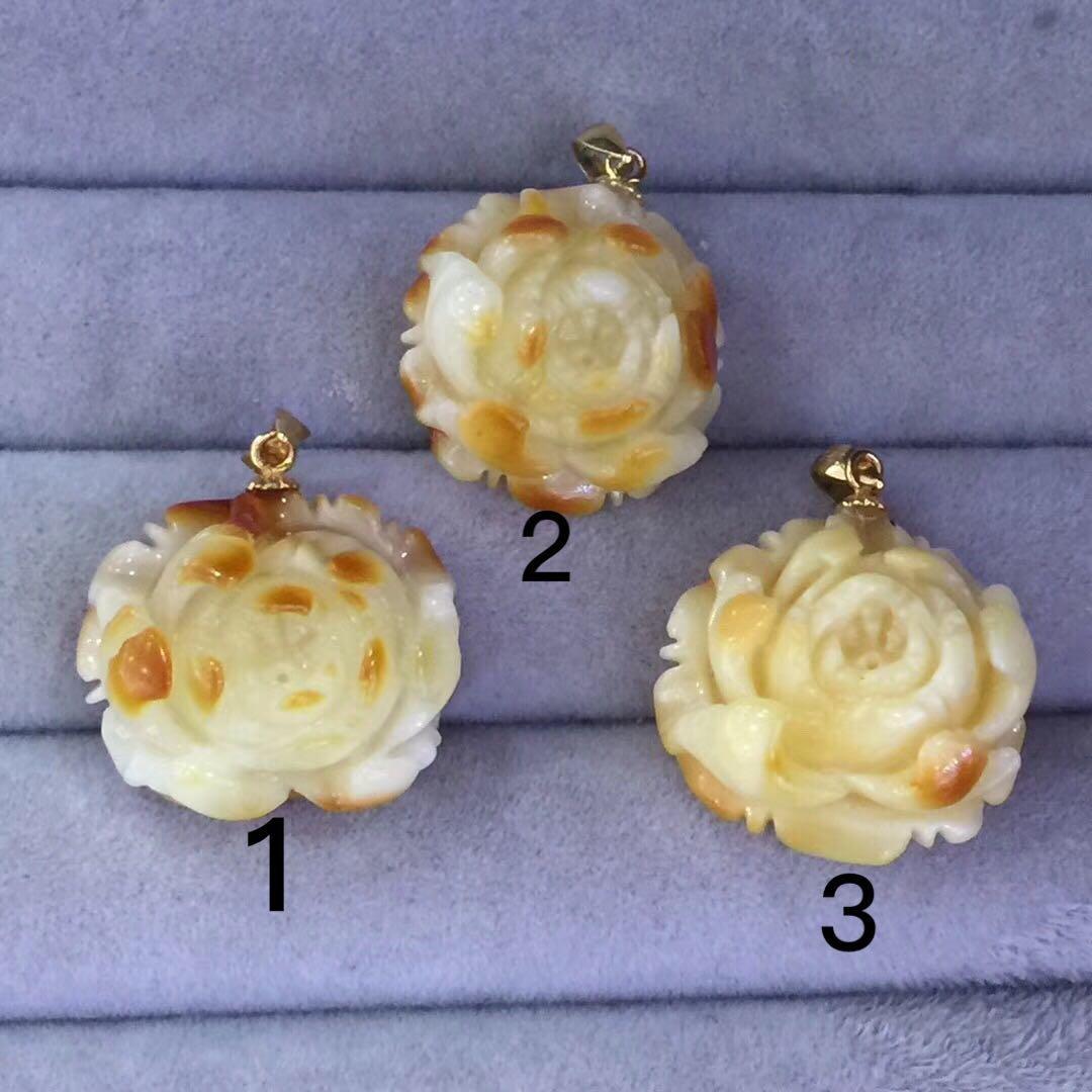 券后130.00元七夕情人节礼物纯天然波罗的海蜜蜡玫瑰花吊坠,蜡质浓郁工艺精湛