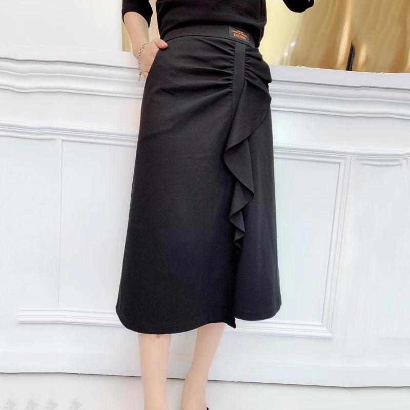 欧洲站大码女装洋气减龄半身裙秋装2019新款微胖女孩穿搭遮腿胖(非品牌)