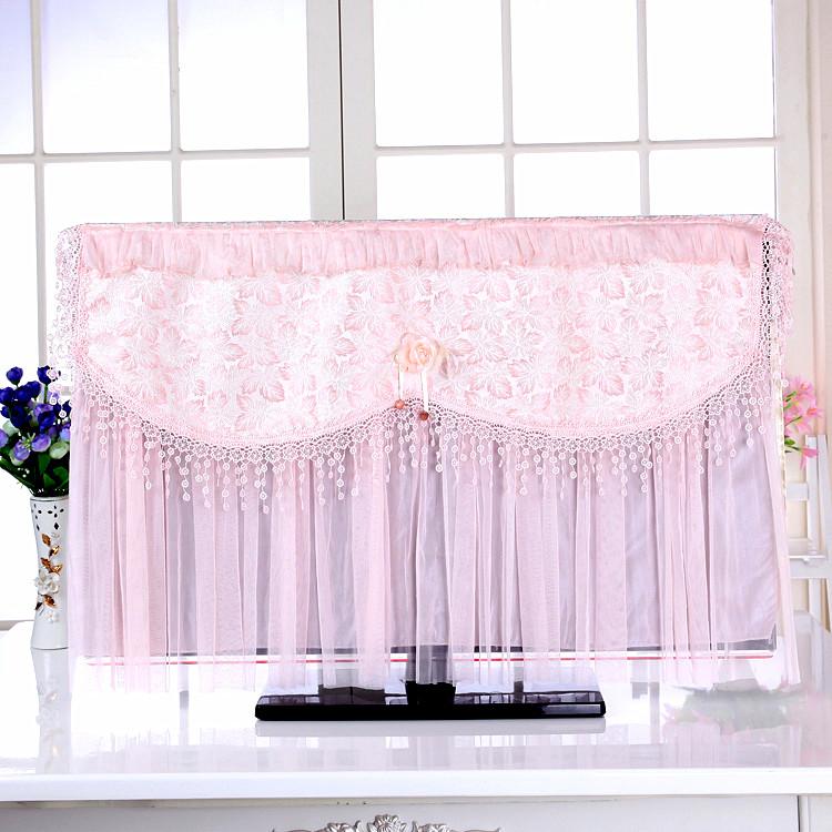 高档蕾丝液晶电视机罩防尘罩挂式防尘套50寸5542英寸布艺盖巾欧式