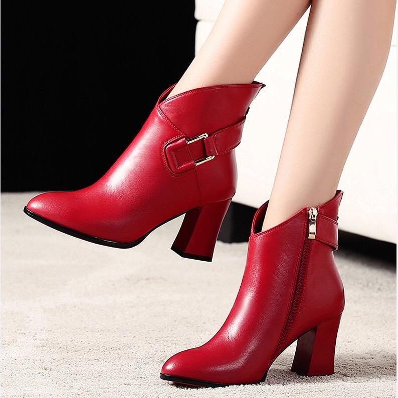 秋冬真皮马丁靴女粗跟高跟鞋短筒英伦风大东短靴尖头红色加绒皮鞋假一赔三