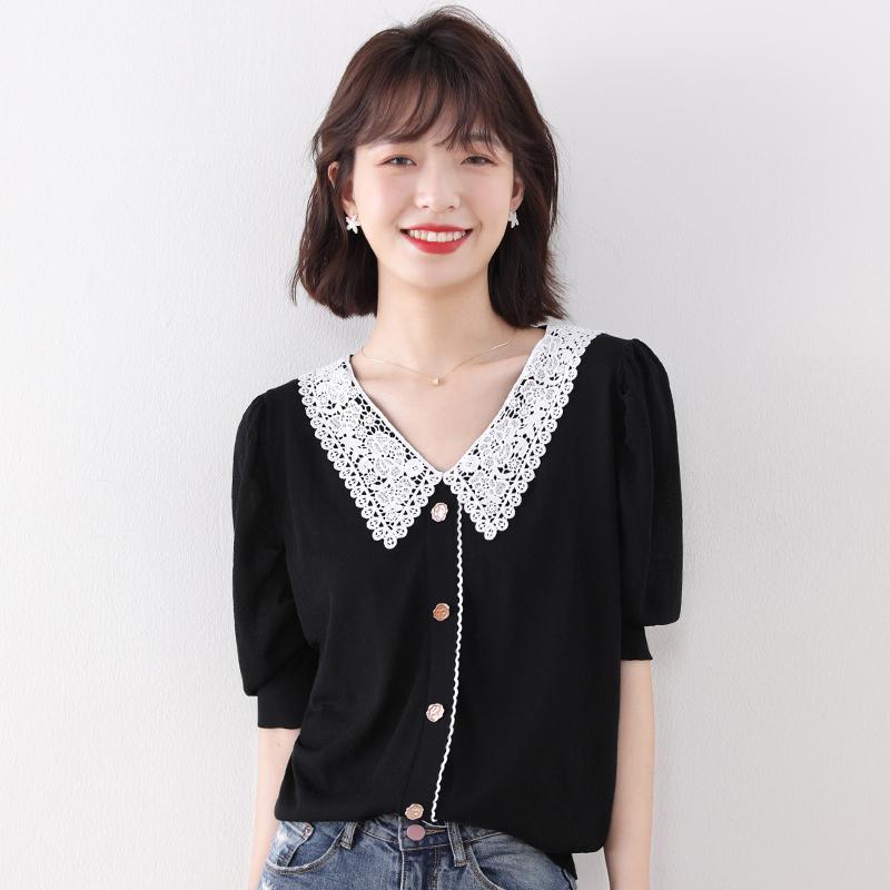 夏季短袖显瘦冰丝针织短款新款t恤
