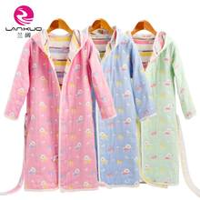 LAN Kuo 6-layer cotton gauze bathrobe children's soft water absorbing swimming bath with hat bathrobe home clothes