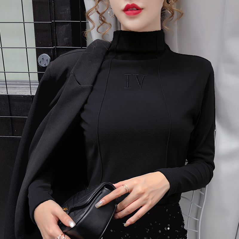 German cashmere half high collar double-sided ground bottomed shirt womens autumn and winter T-shirt 2020 black foreign style spring and Autumn