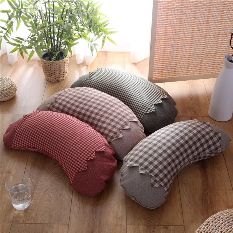 韩版韩式田园格子月牙枕全甜荞麦皮小米壳枕头简约纯棉水洗布枕芯