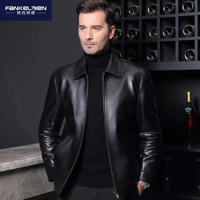 Thin Haining sheepskin leather leather jacket men's leather jacket jacket plus size spring and autumn father wear liner down jacket