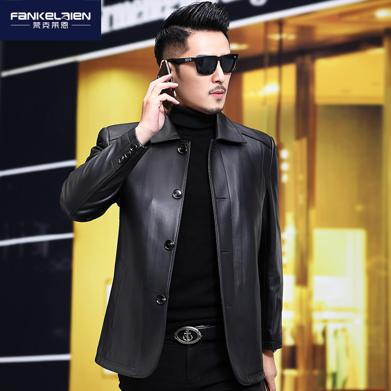 Haining leather leather men's long-term leather clothes middle-aged casual jacket plus fertilizer large size leather jacket sheepskin