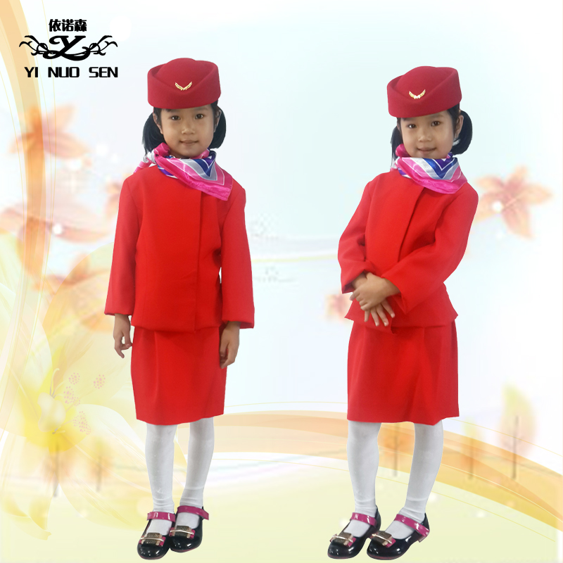 Childrens stewardess suit custom made stewardess costume performance costume childrens professional clothing experience Clothing role play