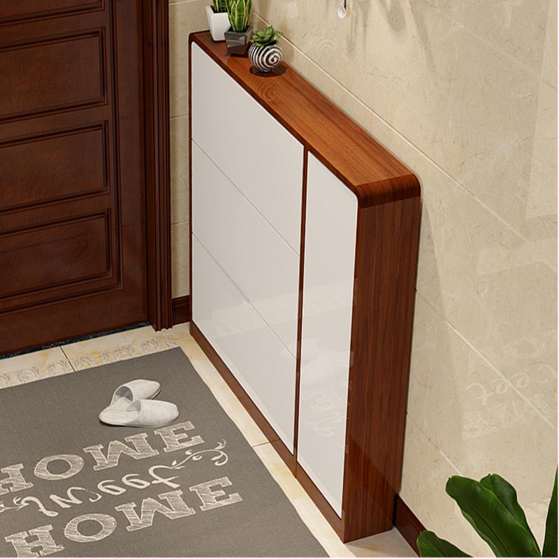 ダンピング用の下駄箱は薄さ17 cmの家庭用の玄関は狭いです。現代簡単で大容量のピアノの塗装は白いです。