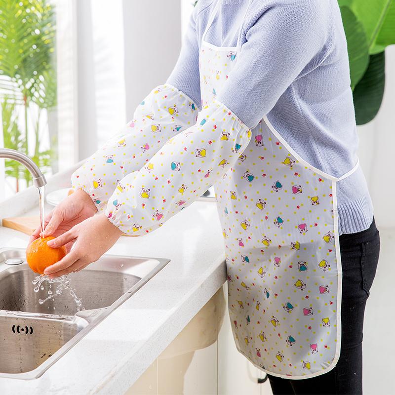 韓版卡通PVC防水家務清潔圍裙 可愛簡約袖套廚房女士居家工作服