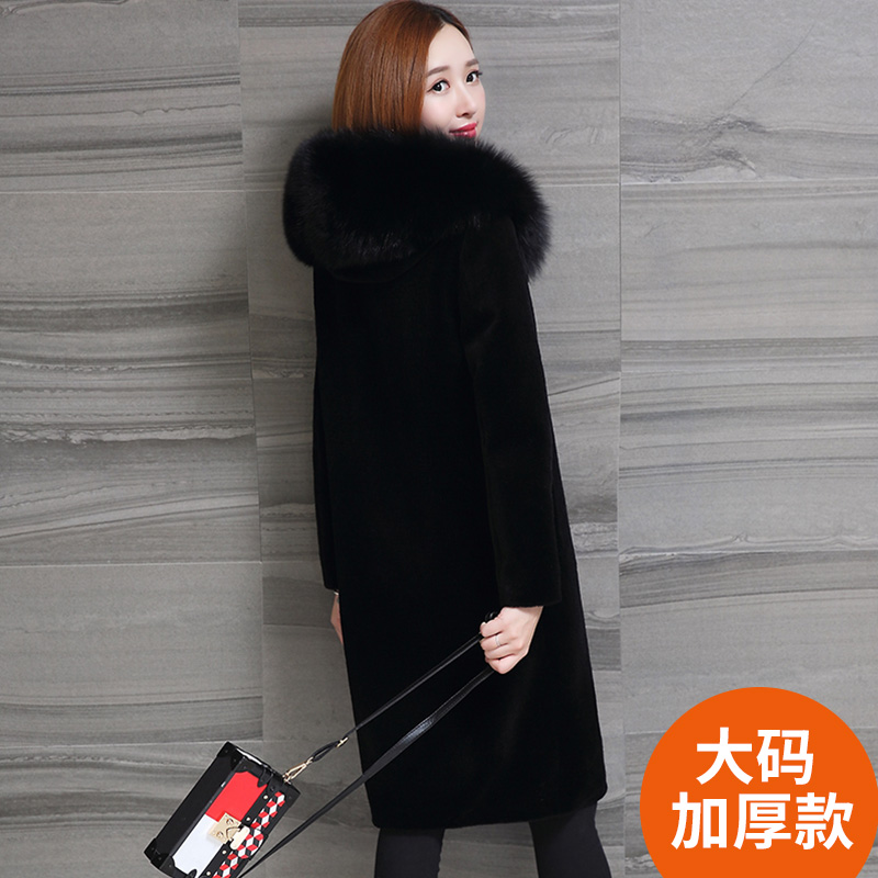 Haining new sheep sheared fur coat womens middle and long fox hair collar wool coat with hat one large size