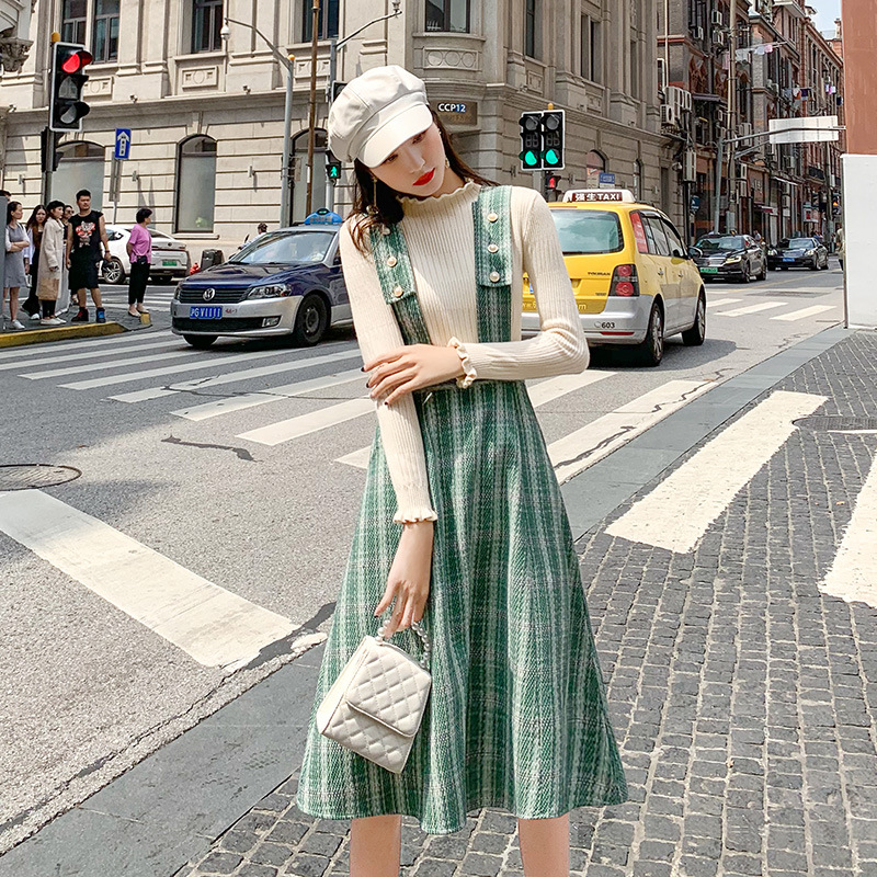 Two piece dress autumn dress womens 2019 new Plaid strap skirt solid color bottomed sweater one hair substitute
