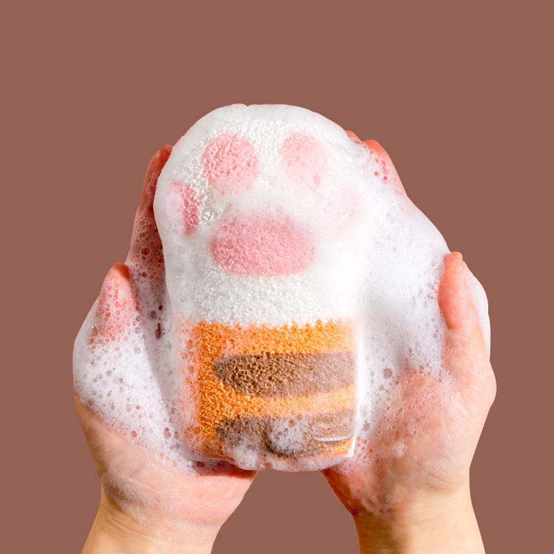 猫爪浴室宝宝沐浴球洗头洗澡沐浴棉