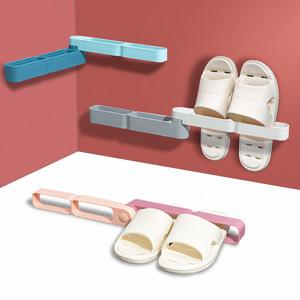 聚可爱 浴室拖鞋架壁挂式卫生间鞋架可旋转墙上免打孔门后置物架