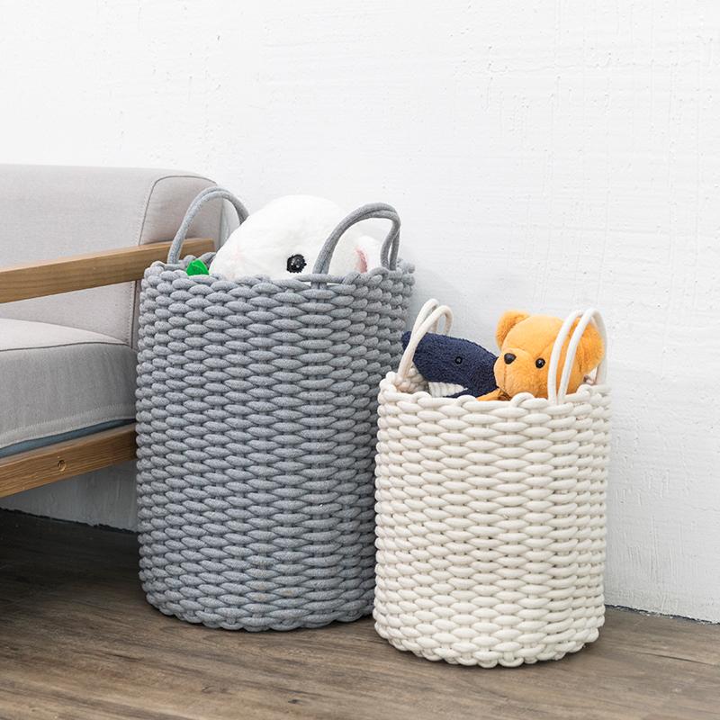 创意北欧ins棉线收纳篮家居玩具杂物收纳筐卧室衣物整理篮脏衣篮