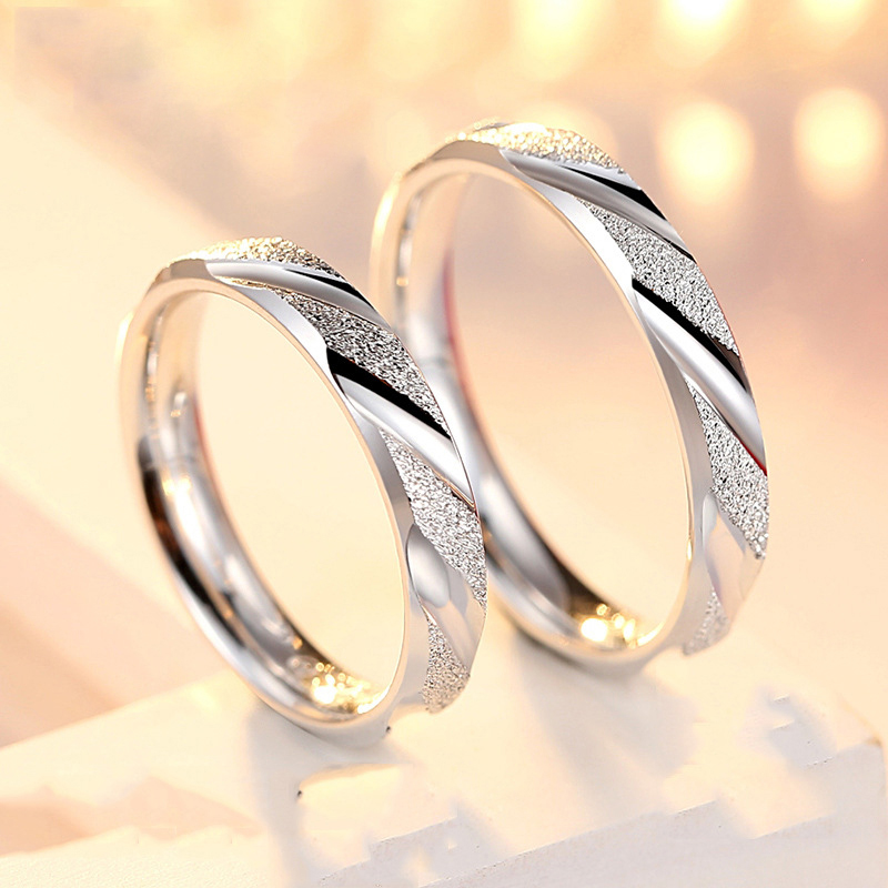 Couple RING 925 sterling silver one pair of creative wedding rings