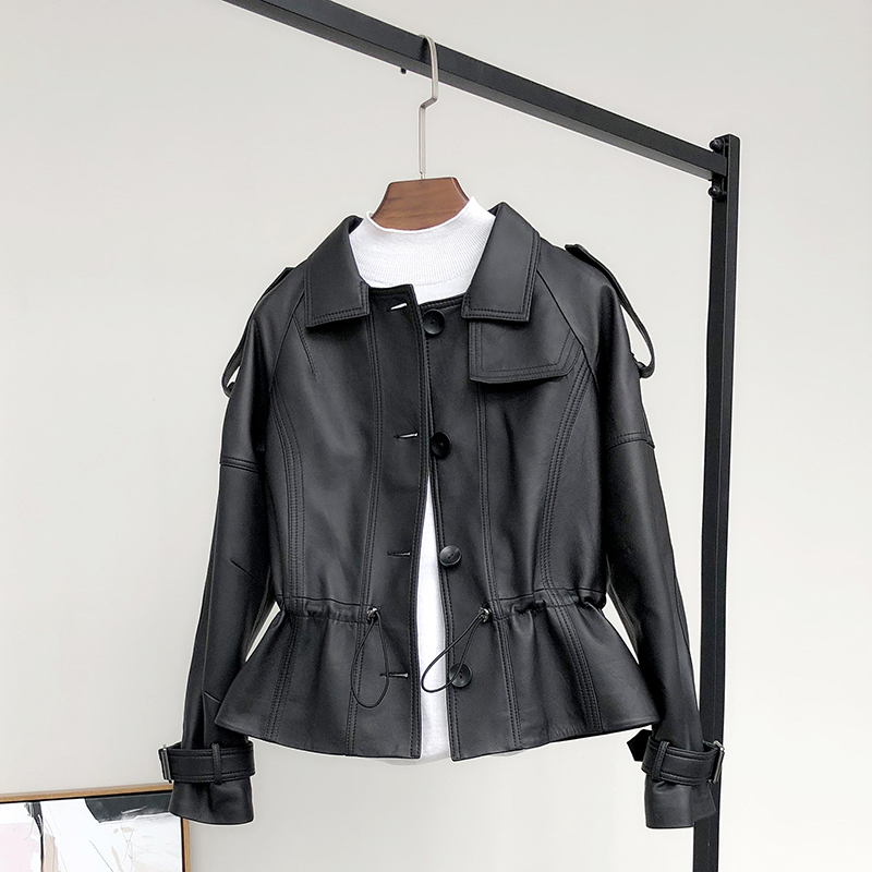 Ximei Sifei spring and autumn Korean version of Haining leather garment women's short leather jacket sheep leather waistband small coat epaulettes