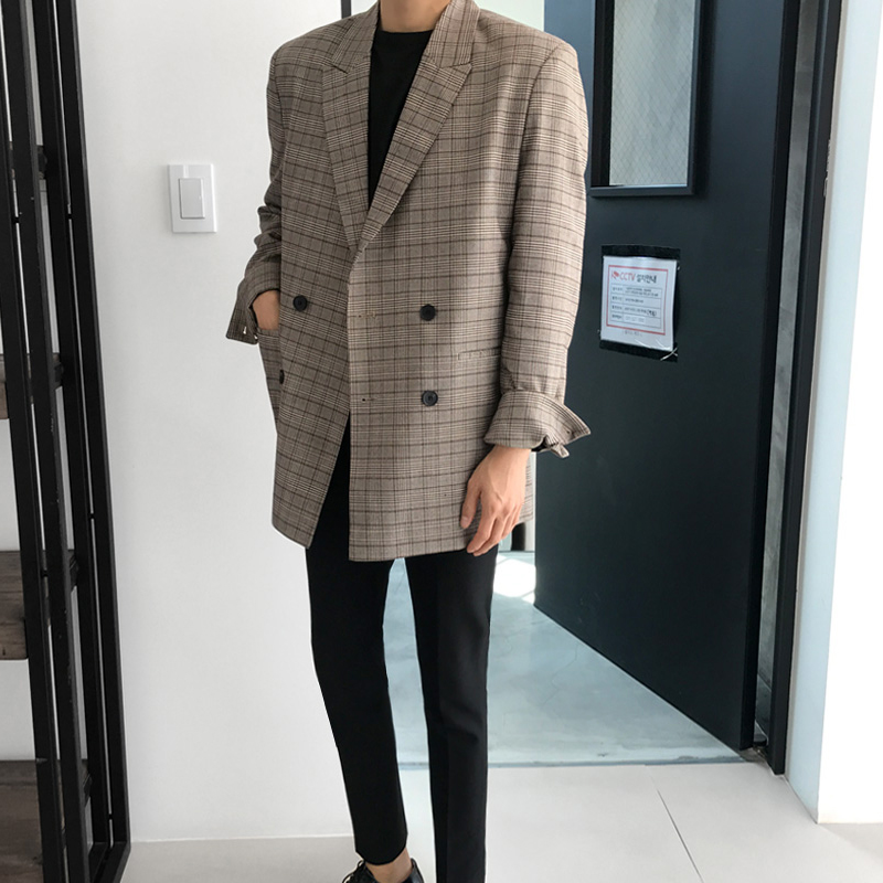 Spring 2020 new Korea mens Plaid suit youth single west coat double breasted loose fashion casual suit top