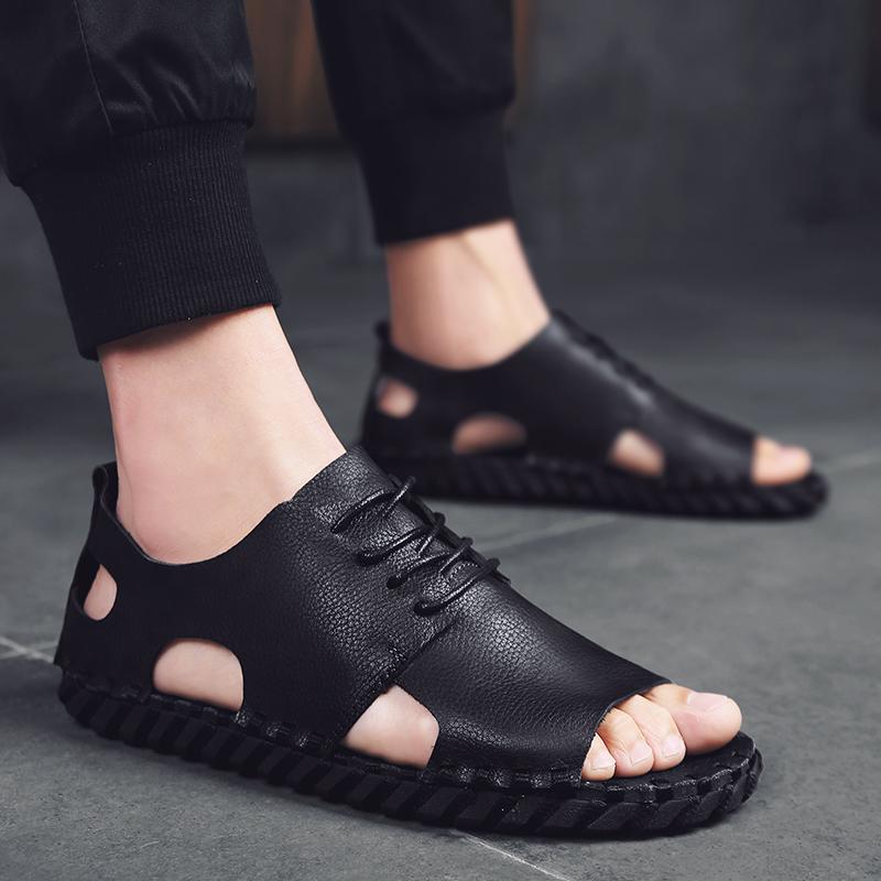 罗马皮凉鞋男潮2021夏网红款外穿时尚软休闲驾车青少年男鞋沙滩鞋