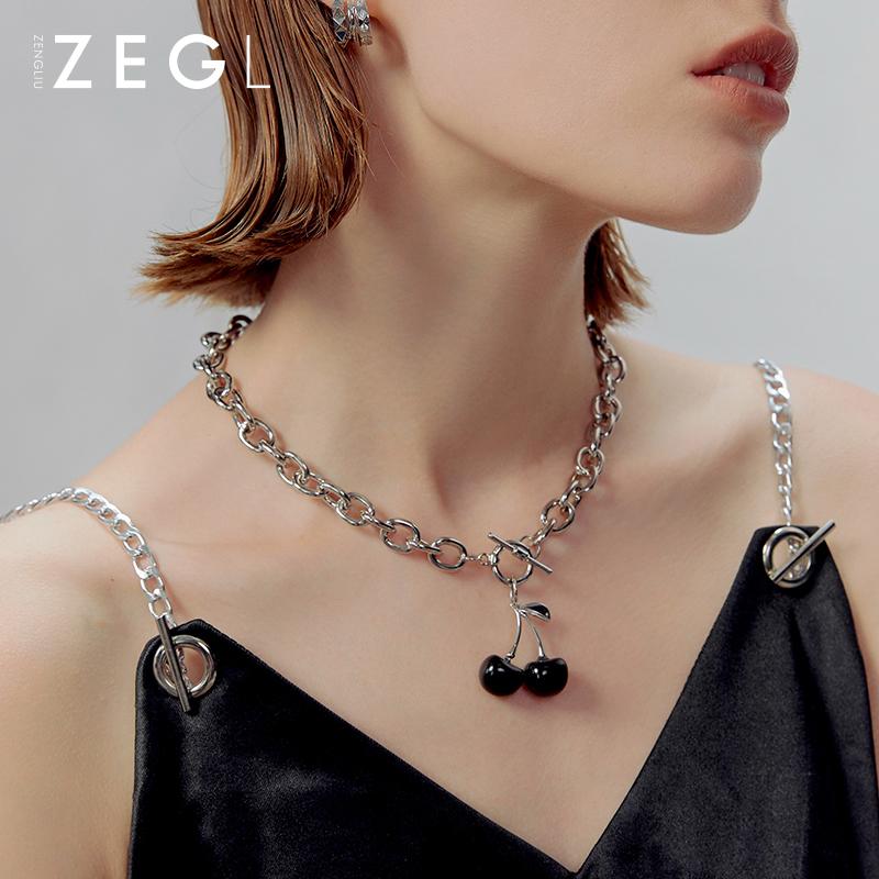 choker年新款2020ZENGLIU黑色樱桃项链女轻奢小众设计吊坠锁骨链