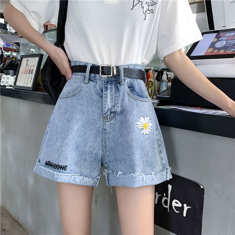 European station denim shorts womens thick thigh adult hot top small man summer high waist white outer wear ins