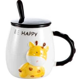 简约大容量陶瓷杯带盖带勺可爱情侣杯