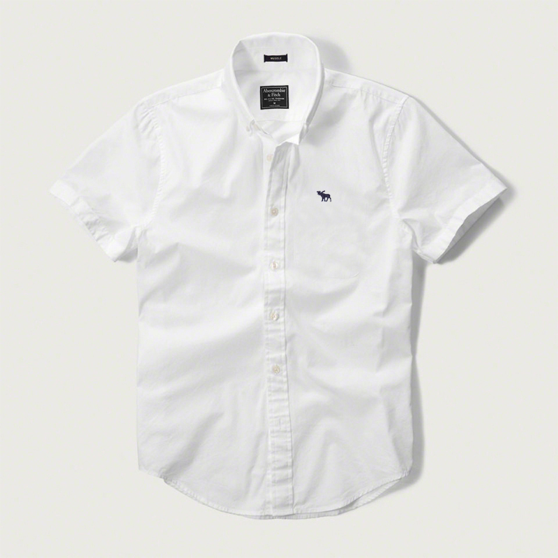 AF mens Short Sleeve Shirt pure color fawn logo CASUAL SHIRT COTTON slim Oxford white business shirt