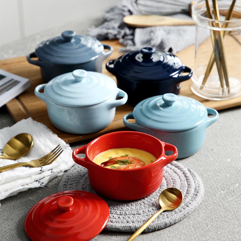 创意陶瓷小汤碗炖蛋碗双耳汤盅带盖烘焙舒芙蕾烤碗布丁燕窝甜品碗