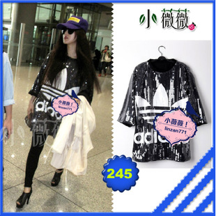Hong Kong purchasing the same paragraph Fan Bingbing Cecilia clover sequined star with beads loose T shirt women