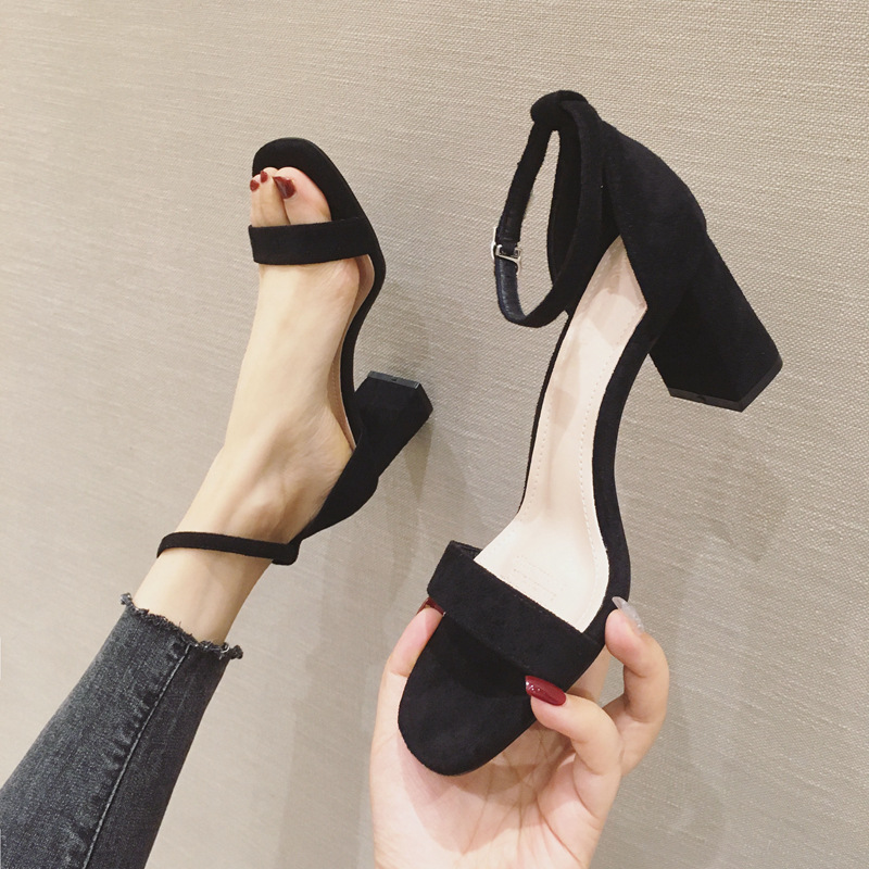 Black high-heeled sandals 2020 new thick heeled high-heeled shoes versatile Korean suede open toe womens shoes with temperament