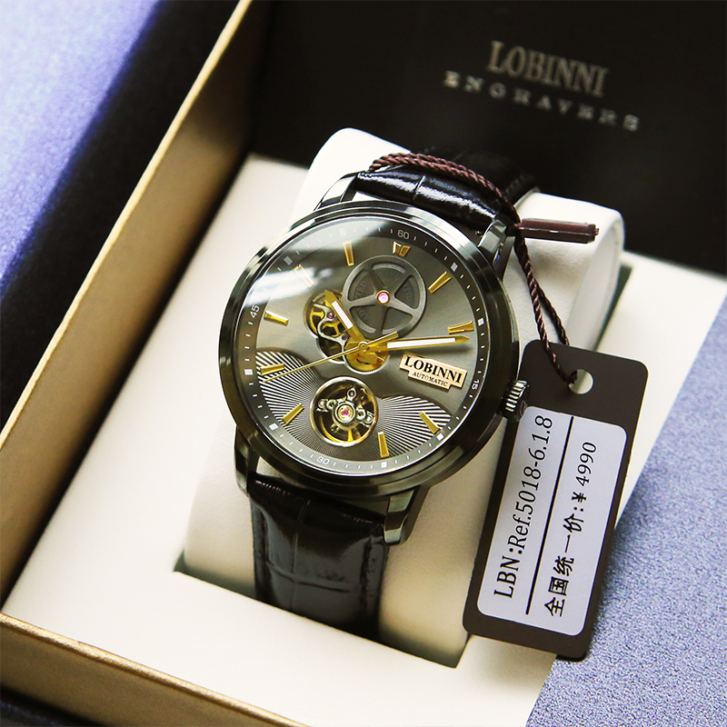 Lobinni/Robbini Brand Genuine Watch 2019 New Type Watch Men Automatic Mechanical Watch Men Hollow Waterproof