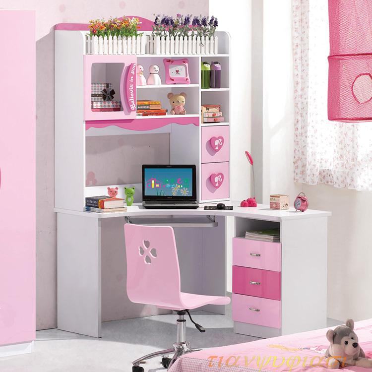 儿童转角书桌带书柜书架组合一体电脑桌  粉红女孩家用学习写字台