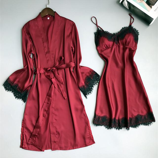 女士春秋冰丝绸长袖套装睡袍新婚红色结婚睡衣性感本命年睡裙晨袍 - 封面