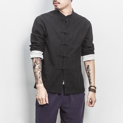 中国风亚麻长袖衬衫盘扣拼色盘扣长袖衬衫男A036/J011/60控价78