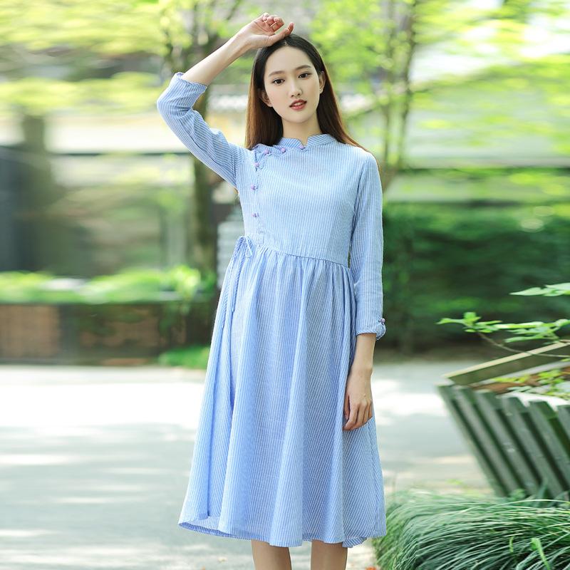 起念2017新款女装条纹系带中长裙中式改良棉麻连衣裙