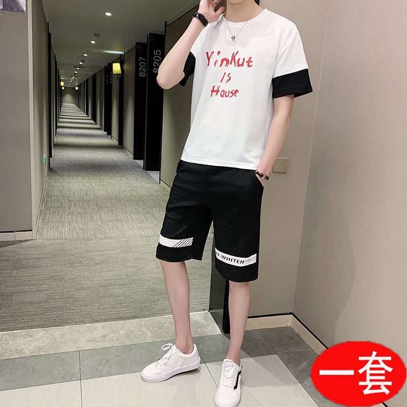 2020 new suit mens summer sports and leisure trend Korean handsome one suit short sleeve T-shirt for male students