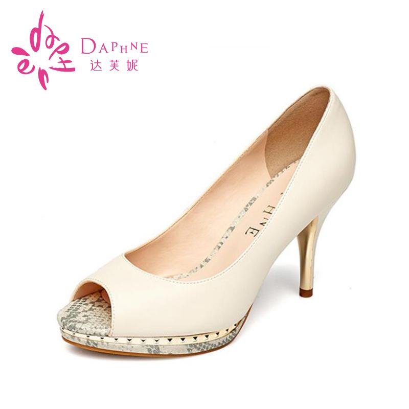 ~虧本 ~達芙妮女鞋 細跟涼鞋超高跟魚嘴淺口單鞋顯氣質