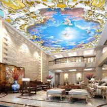 奢华欧式吊顶壁纸卧室客厅天顶天棚无纺布墙纸天花3d大型定制壁画
