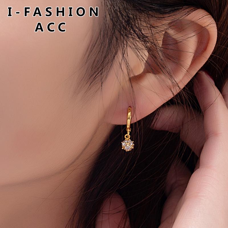 2019 new Korean 16K real gold earrings temperament Korean personality versatile simple ear buckle womens Earrings Fashion