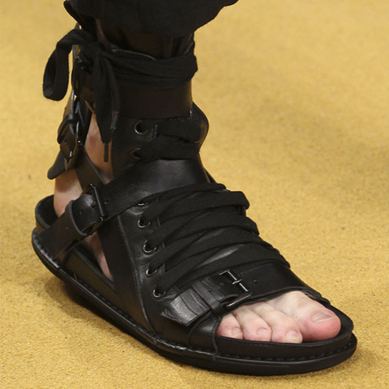 2020 Europe and America Summer lace up thick bottom high top sandals open toe Roman shoes mens Korean casual leather buckle sandals