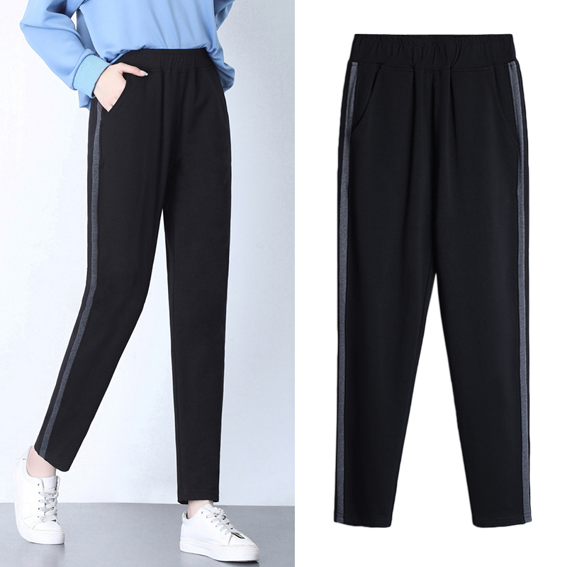 Autumn and winter sports pants women plus velvet thickened outer wear warm cotton pants straight loose large size casual trousers pant