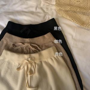 控5 實價實拍 韓版顯瘦高腰保暖寬松休閑針織闊腿褲女秋冬