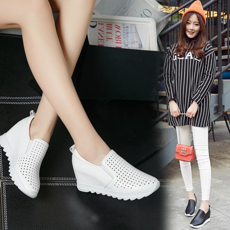 小白鞋女镂空2020夏季真皮内增高女鞋透气坡跟单鞋乐福运动休闲鞋