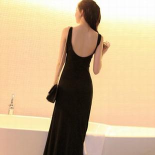 莫代尔露背连衣裙修身 夏季 打底显瘦背心长裙大码 欧美风女装 小码